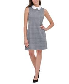 Tommy Hilfiger Contrast-Collar Plaid Dress