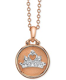 "Princess Crown Pendant Necklace in Fine Silver Plated Two-Tone, 16"" + 2"" extender"