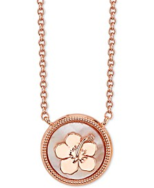 "Lilo and Stitch Mother-of-Pearl Pendant Necklace in Rose Gold-Plate, 16"" + 2"" extender"