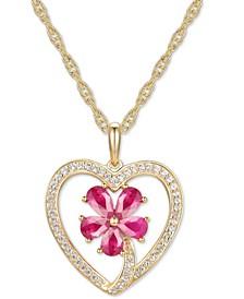 """Certified Ruby (1-1/10 ct.t.w.) & Diamond (1/5 ct.t.w.) Flower Heart 18"""" Pendant Necklace in 14k Gold"""