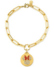 Minnie Mouse Charm Link Bracelet in Gold-Plate