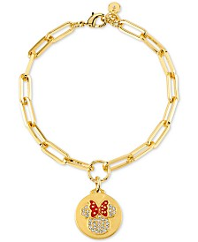 Disney Minnie Mouse Charm Link Bracelet in Gold-Plate