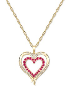 "Certified Ruby (5/8 ct. t.w.) & Diamond (1/6 ct. t.w.) Double Heart 18"" Pendant Necklace in 14k Gold"