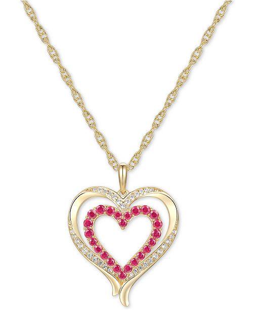 """Macy's Certified Ruby (5/8 ct. t.w.) & Diamond (1/6 ct. t.w.) Double Heart 18"""" Pendant Necklace in 14k Gold"""