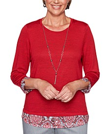 Plus Size Well Red Layered-Look Top
