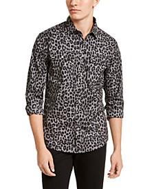 Men's Slim-Fit Stretch Leopard-Print Pocket Shirt