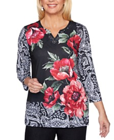 Alfred Dunner Well Red Roses Embellished Knit Top