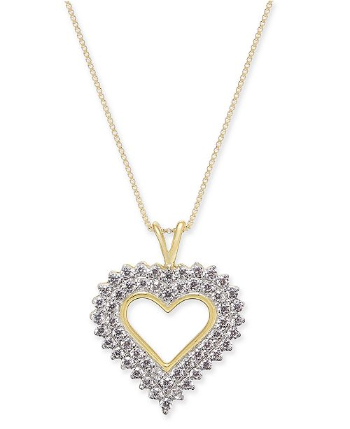 "Macy's Diamond Heart 18"" Pendant Necklace (1/2 ct. t.w.) in 14k Gold"