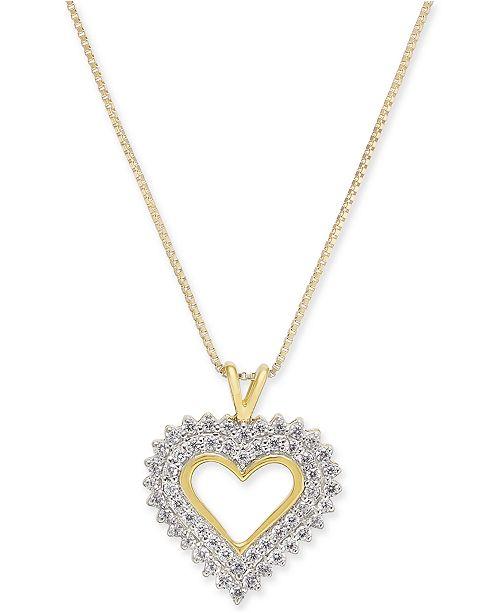 "Macy's Diamond Heart 18"" Pendant Necklace (1/4 ct. t.w.) in 14k Gold"