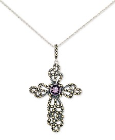 "Amethyst (2 ct. t.w.) & Marcasite Cross 18"" Pendant Necklace in Sterling Silver"