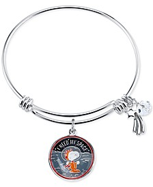 Unwritten Astronaut Snoopy Charm Bangle Bracelet in Stainless Steel