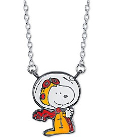 """Unwritten Astronaut Snoopy Pendant Necklace in Fine Silver-Plate, 16"""" + 2"""" extender"""