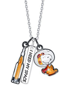 "Astronaut Snoopy Pendant Necklace in Fine Silver-Plate, 16"" + 2"" extender"