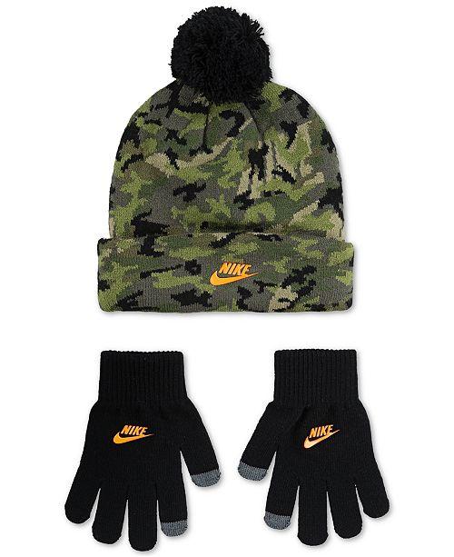 Nike Big Boys 2-Pc. Futura Camo-Print Beanie & Gloves Set