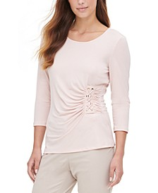 Lace-Up 3/4-Sleeve Top
