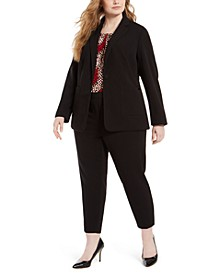 Plus Size Piped-Trim Tuxedo Blazer, Pleated-Neck Top & Piped-Trim Cropped Pants