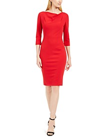 Cowl-Neck Sheath Dress