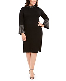 Plus Size Bling Mock-Neck Dress