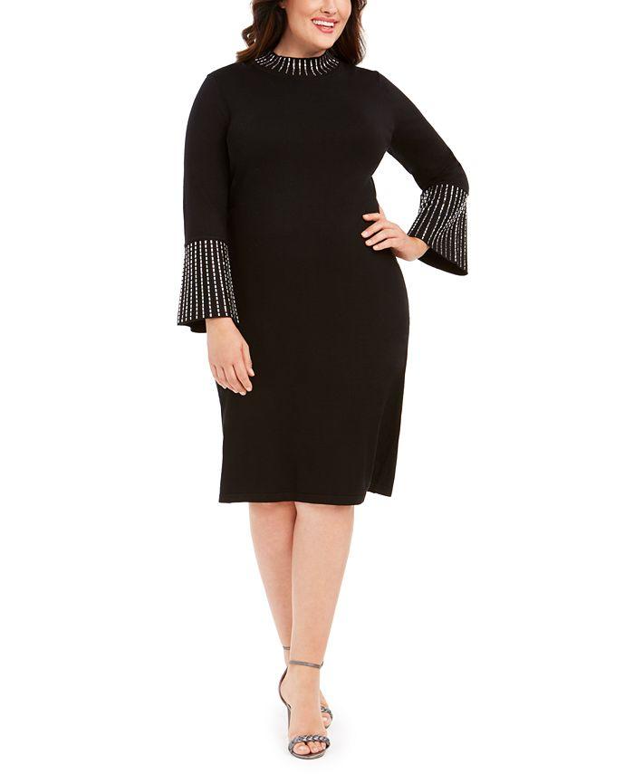 Calvin Klein - Plus Size Bling Mock-Neck Dress