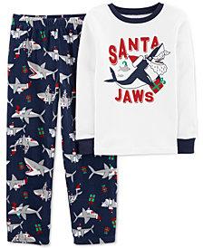 Carter's Little & Big Boys 2-Pc. Santa Jaws Pajamas Set