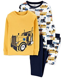 Big & Little Boys 4-Pc. Cotton Snug-Fit Construction Pajamas Set
