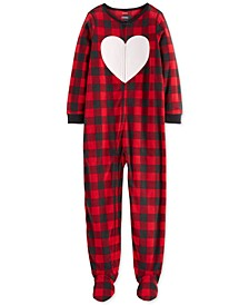 Little & Big Girls 1-Pc. Buffalo Check Fleece Footie Pajamas