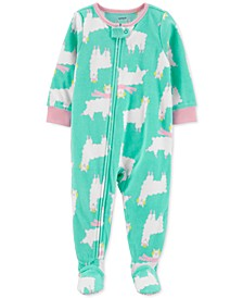Toddler Girls 1-Pc. Holiday Llama-Print Fleece Footie Pajamas