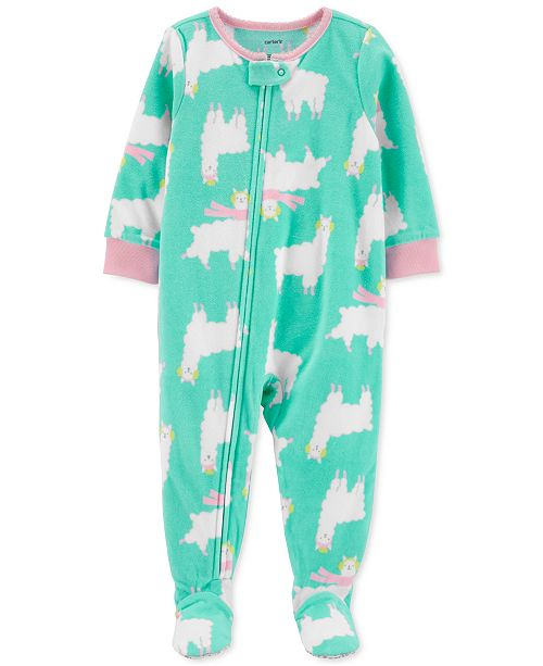 Carter's Toddler Girls 1-Pc. Holiday Llama-Print Fleece Footie Pajamas