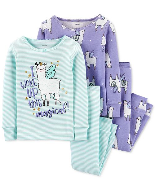 Carter's Toddler Girls 4-Pc. Cotton Snug-Fit Llama Pajamas Set