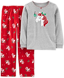 Little & Big Girls 2-Pc. Unicorn Top & Printed Pants Pajamas Set