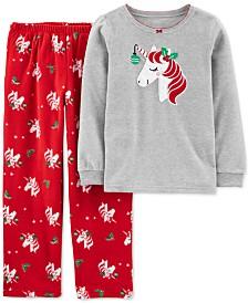 Carter's Little & Big Girls 2-Pc. Unicorn Top & Printed Pants Pajamas Set