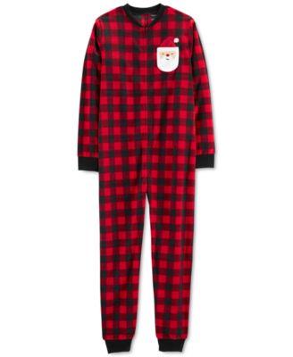 Adult Unisex Family Fleece Pajamas, Checkered Santa