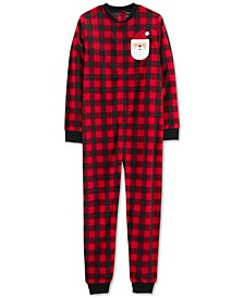 Adult Unisex Family Fleece Pajamas, Checkered Santa