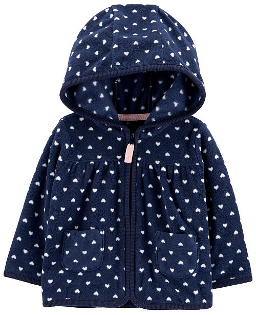 Carter's Baby Girls Heart Hooded Full-Zip Fleece Cardigan