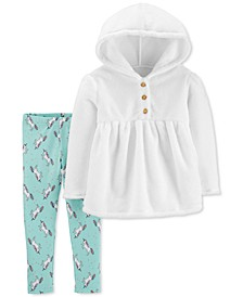 Baby Girls 2-Pc. Faux-Velboa Hoodie & Unicorn-Print Leggings Set