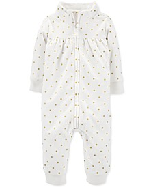 Baby Girls Polka Dot Full-Zip Fleece Jumpsuit