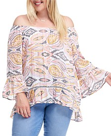 Fever Printed Bell Sleeve Blouse