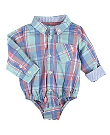 Baby Boy's Plaid Long Sleeve Button-Down Shirtzie