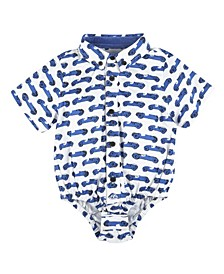 Baby Boy's Race Car Printed Short Sleeve Button-Down Shirtzie