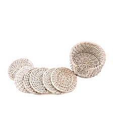 CLOSEOUT Set of 6 Whitewash Rattan Coasters in Holder
