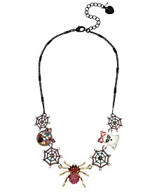 Betsey Johnson Spider Mixed Charm Frontal Necklace