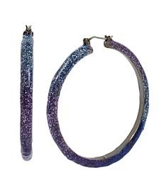 """Large Glitter Ombre Hoop Earrings 2.1"""""""