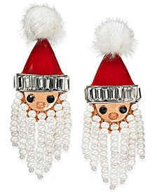 INC Silver-Tone Crystal, Bead & Pom-Pom Bead Santa Drop Earrings, Created For Macy's