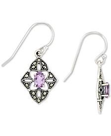 Amethyst (1/2 ct. t.w.) &  Marcasite Flower Drop Earrings in Sterling Silver