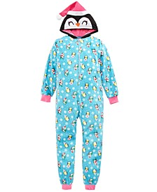 Big Girls 1-Pc. Hooded Penguin-Print Pajamas, Created for Macy's