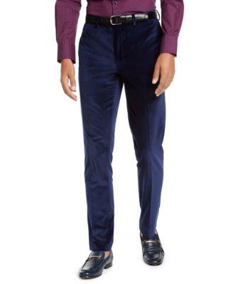Orange Men's Slim-Fit Blue Velvet Suit Pants