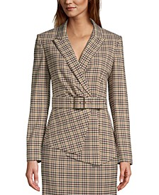 Belted Plaid Asymmetrical Blazer