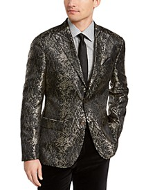 Orange Men's Slim-Fit Gold/Black Snakeskin Jacquard Dinner Jacket