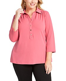 Plus Size 3/4-Sleeve Polo Top, Created for Macy's
