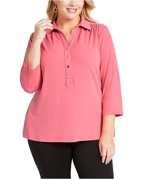 Charter Club Plus Size 3/4-Sleeve Polo Top, Created for Macy's